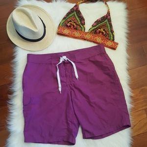 Purple Kanu Surf board shorts swim cover up